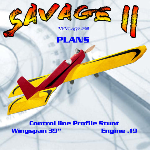 Full Size printed Plans Vintage 1959 Control line Profile Stunt .19 SAVAGE II transition trainer