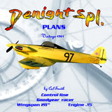 "Full Size Printed Plan vintage 1961 control Line 1:8 Scale Profile Goodyear racer ""Denight Spl."""