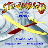 "Full Size Printed Plan 1944 `floater' Towline Glider  Wingspan 39"" ""STORMBIRD"""