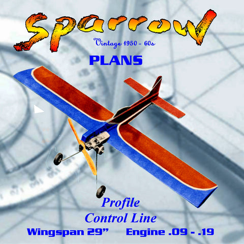 "Full Size Printed Plan ""profile trainer"" control‑line Sparrow Wingspan 29""  Engine .09 -.19"