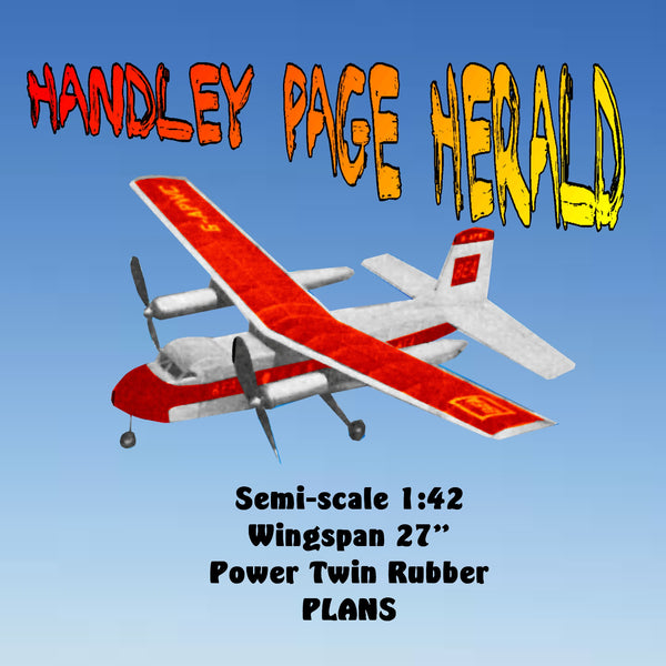 "Full Size Printed Plans Handley Page Herald Semi-scale 1:42  Wingspan 27""  Power Twin Rubber"