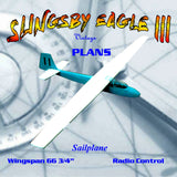 "Full Size Printed Plan SAILPLANE ""SLINGSBY EAGLE 3"" 66 3/4"" W/s For radio control"
