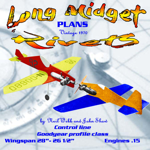 "Full Size Printed Plan Two Profile racers for  'Goodyear' Class Control Line ""Long Midget"" & ""Rivets"""