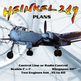 "Full Size Printed Plans Scale 1"" = 1' Control Line or Radio Control Wingspan 60"" HEINKEL 219"