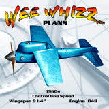 "Full Size Printed Plan  1/2 A  vintage Control Line Speed WEE WHIZZ  Wingspan 91/4""  Engine .049"