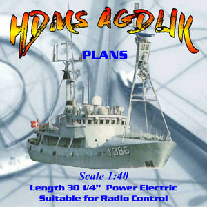 Build a 1:40 Scale Royal Danish Navy as fishery protection cutters Full Size Printed Plans