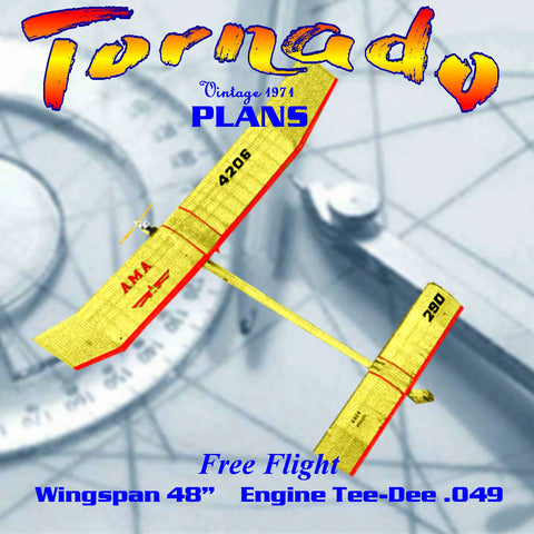 Full Size Printed Plan Free Flight Tee-Dee .049  'Tornado' strong contest potential