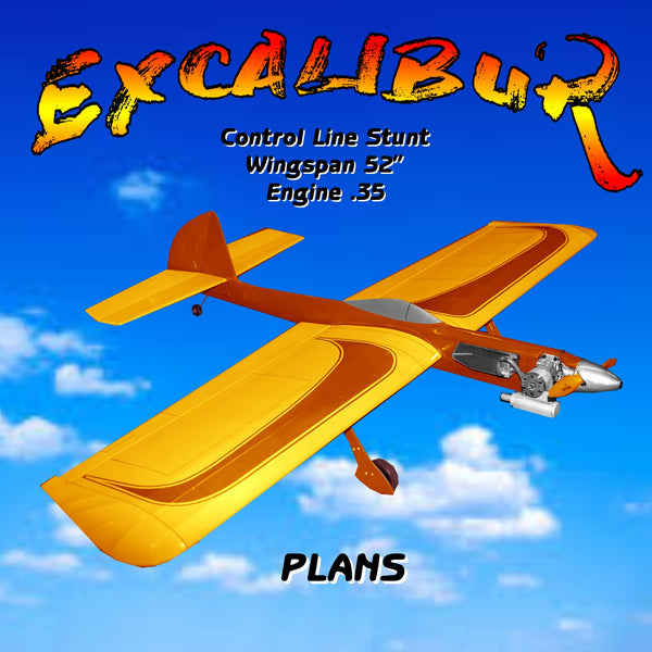 "Model Airplane Full Size Printed Plans C/L Nostalgic 30 W/S Stunt 52"" EXCALIBUR"