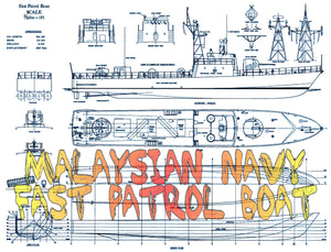 "full size Printed Plans & Article  Malaysian Navy  FAST PATROL BOAT Scale 1:64 L29"" for R/c"