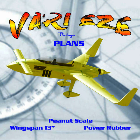 "Full size printed plans Peanut Scale ""VARI EZE"" most stable Peanut I've flown"