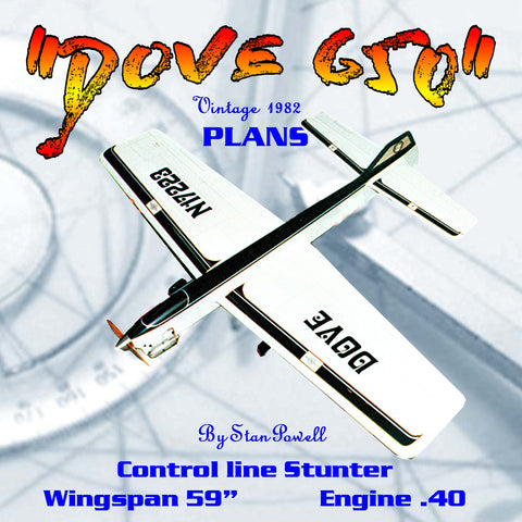 "Full Size Printed Plan Vintage 1982 Control Line Stunter ""DOVE 650"" Aerobatics Concours d'Elegance award"