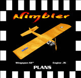 "Full Size Printed Plan & Building Notes  Slow Combat *The Nimbler* Wingspan 42""  Engine .35"