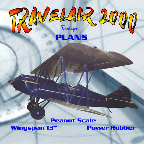 "Full size printed plans Peanut Scale ""TRAVELAIR 2000""  built in the usual fashion"