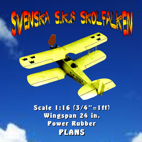"Full size printed plan SVENSKA S.K.8 SKOLFALKEN Scale 1:16 (¾""=1ft)  Wingspan 24 in.  Power Rubber"