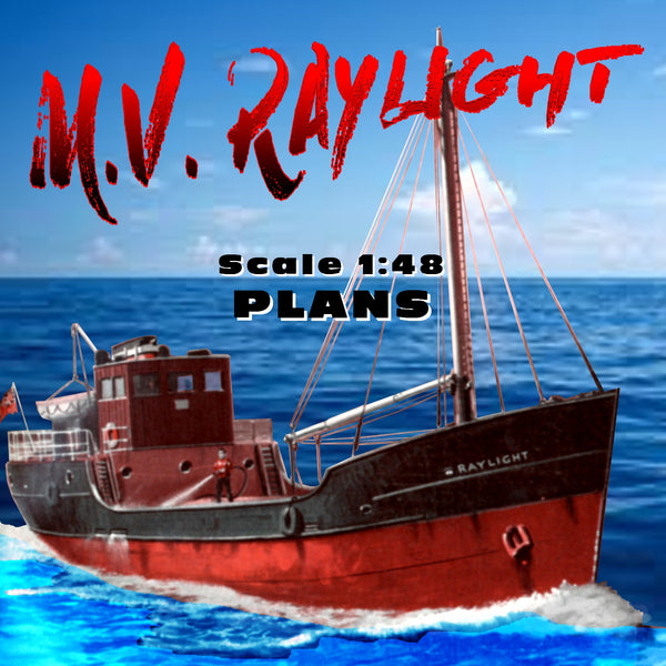 "Full size Printed Plans  A modern Clyde ""puffer"" M.V. RAYLIGHT Scale 1:48 Suitable for Radio Control"