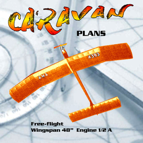 Full Size Plans Vintage 1966 Free-flight CARAVAN Hot contest machine for the ½ A mills