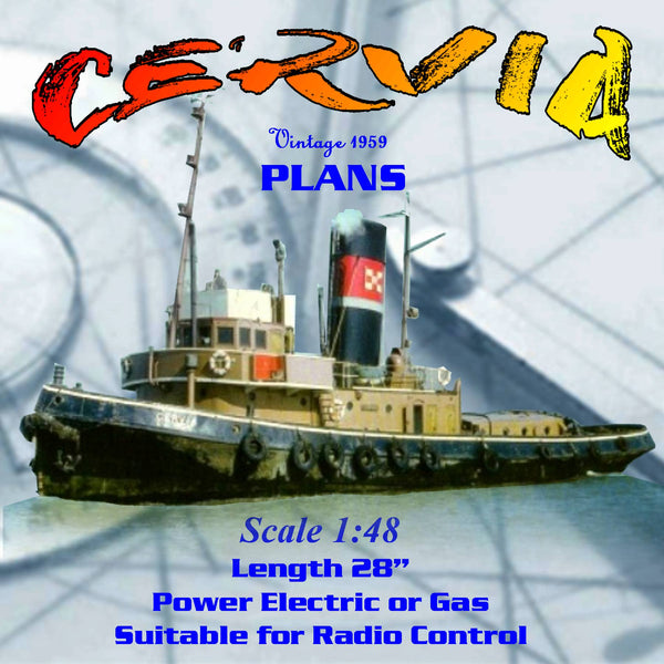 "Full size Printed Plans & Article Scale 1:48 L 28"" CERVIA  Thames Tug"