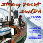 Full Size Printed Plan Scale is around I / 72 Steam Yacht SUNDA Power electric or Sail  Suitable for radio control