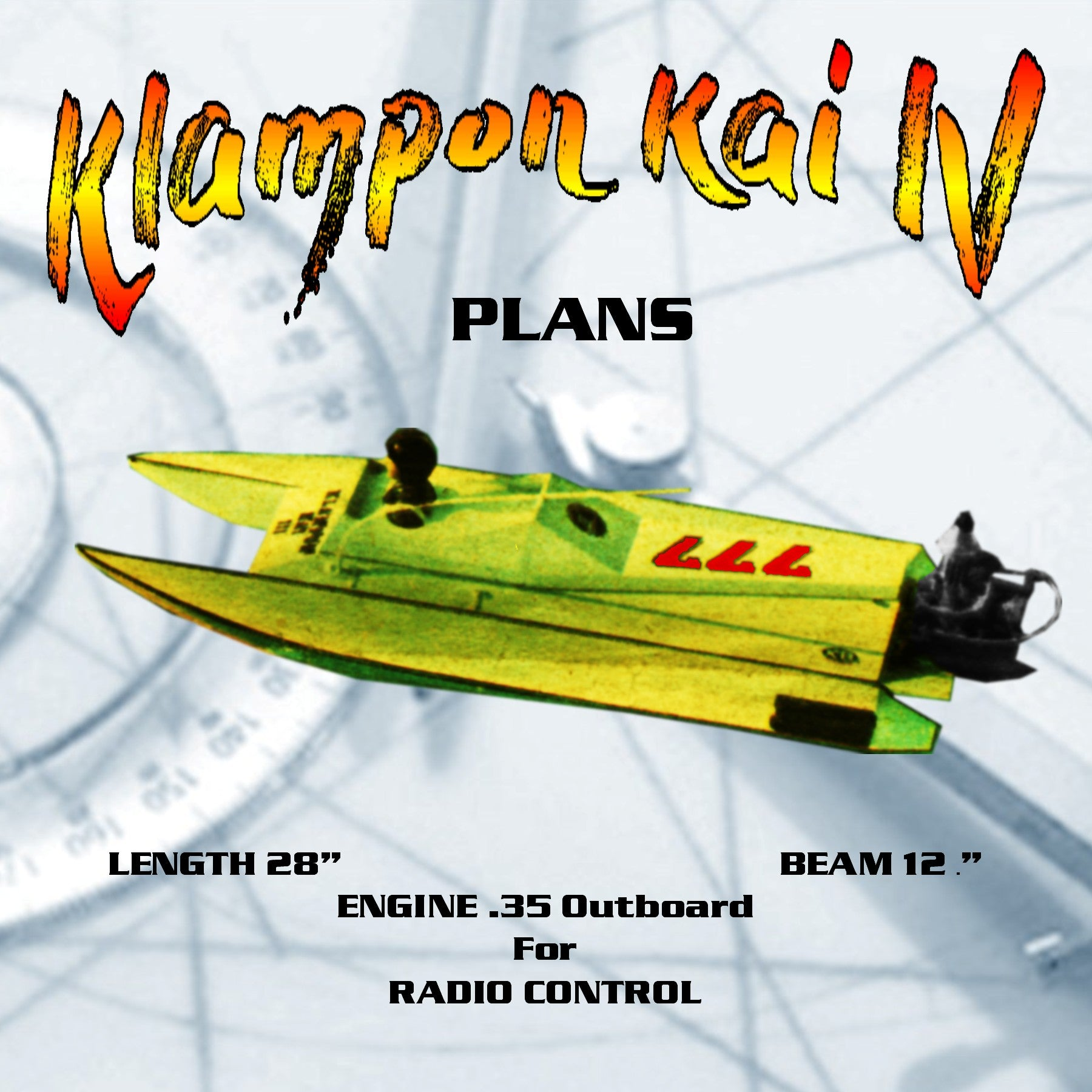 "FULL SIZE PLANS-.35 Outboard Raceing boat L28"" Klampon Kai IV for Radio Control"