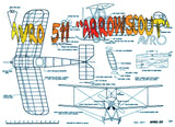 "Full size printed plan and Building notes AVRO 511 ""Arrowscout"" Scale .923"" = 1ft  W/S 24""  Power Rubber"