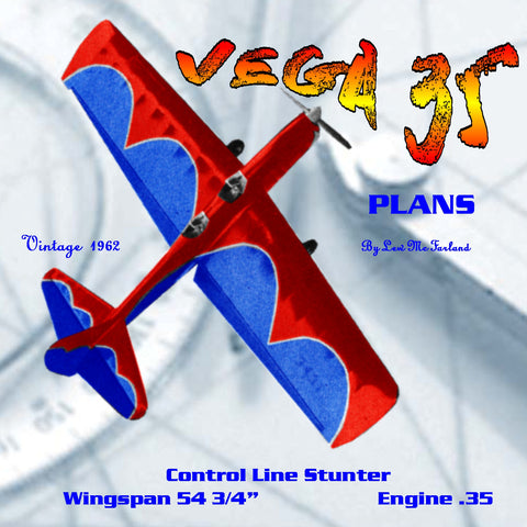 "Full Size Printed Plan  Vintage 1962 Control line Stunter ""VEGA 35""  OPEN-COCKPIT SEMI-SCALE"
