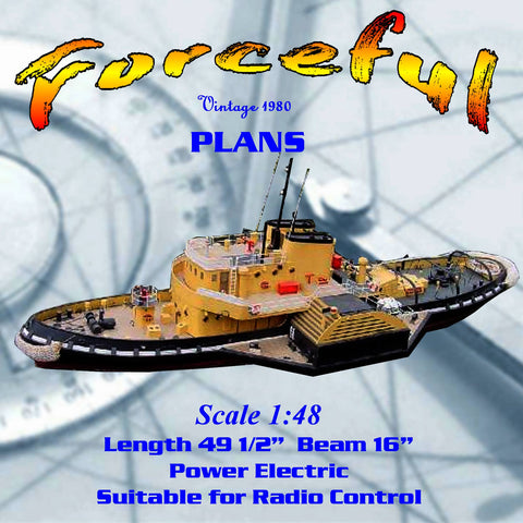 Full Size Printed Plan Scale 1:48 Director class paddle tug Suitable for Radio Control