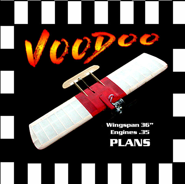 "Full size printed plan and Article Combat plane *VOODOO* Wingspan 36""  Engines .35"