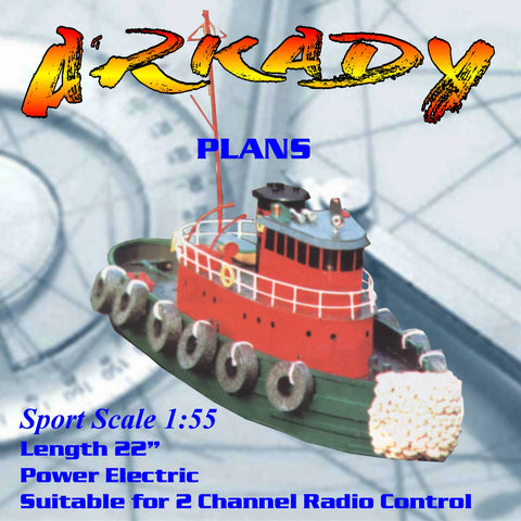 "Full Size Printed Plan Sports Scale Harbor Tug LENGTH 22 "" Suitable for 2 channel Radio Control"