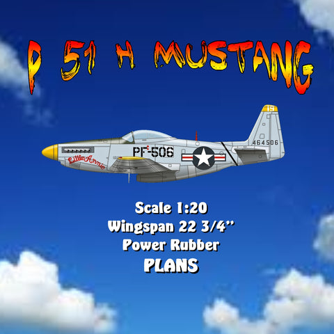 "Full size printed plan P 51 H Mustang Scale 1:20  Wingspan 22 ¾""  Power Rubber"