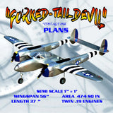 "FULL SIZE PLANS vintage 1966 SEMI SCALE 1"" = 1' Control Line Stunter P-38 THE ""FORKED-TAIL DEVIL"""