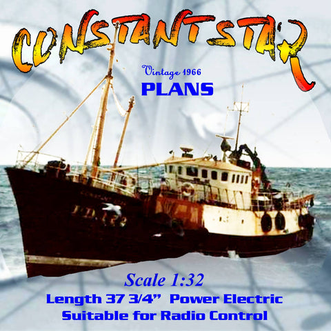 "full size Printed Plans MODERN TRAWLER Scale 1/32  l37 3/4"" Suitable for Radio Control"