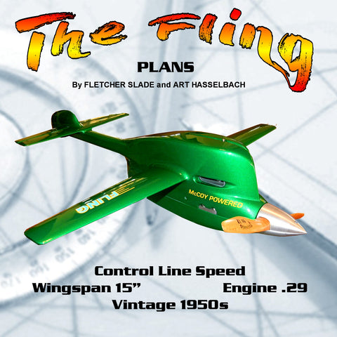 "Full Size Printed Plan vintage 50s Control line Speed ""The Fling"" Wingspan 15""  Engine .29"