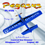 "Full Size Plans Vintage 1969 Control Line Stunter ""Pegasus"" higher ratio wing than most stunters"