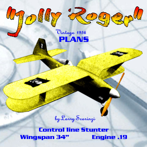 "Full Size Printed Plans vintage 1956 Control line Stunter ""Jolly Roger"" ease of flying through the pattern"