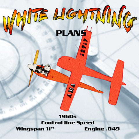 "Full Size Printed Plan  1/2 A  vintage Control Line Speed  WHITE LIGHTNING Wingspan 11""  Engine .049"