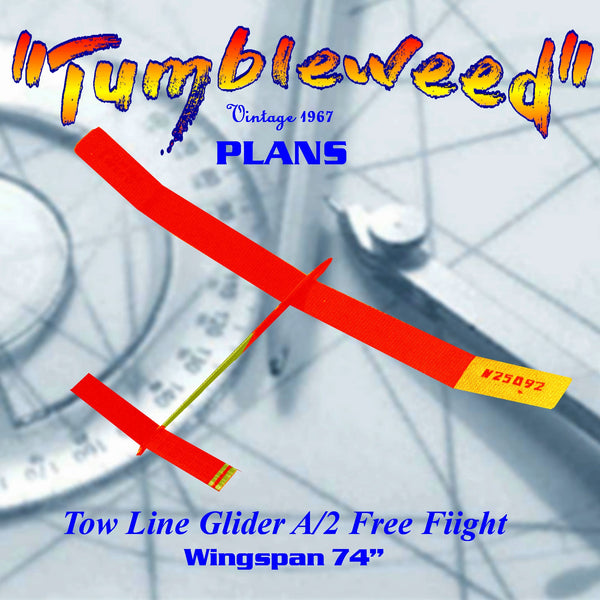 "Full Size Printed Plan A/2 Freeflight  Wingspan 72"" ""Tumbleweed""  simple glider for the inexperienced Nordic"