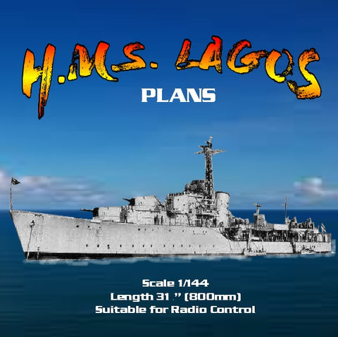 "Full Size Printed Plans Scale 1/144  destroyer H.M.S. LAGOS L 31 1/2"" Suitable for Radio Control"