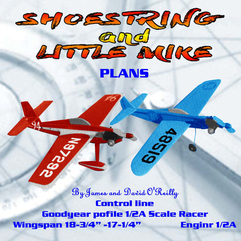 "Full Size Printed Plan 1/2A Scale Racing Control Line ""SHOESTRING and LITTLE MIKE"""