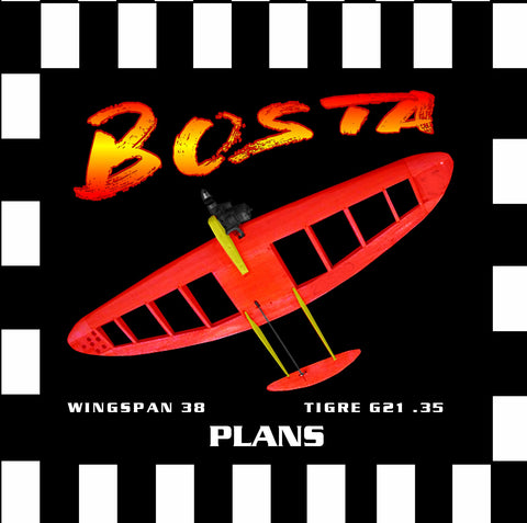 "Full Size Printed Plan & Building Notes ELLIPTICAL WING COMBAT SHIP *BOSTA* W/S 38"" Engine .35"