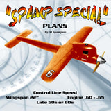 "Full Size Printed Plan Control Line Speed  form late 50s to 60s  ""SPAMP SPECIAL"" Wingspan 22""  Engine .60 - .65"