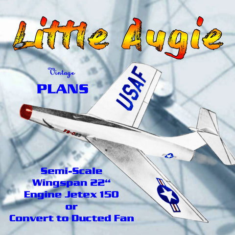 Full Size Printed Plan Semi Scale Jetex Fighter Little Augie  JETEX 150  or convert to Ducted Fan