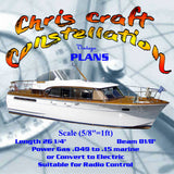 "Full Size Printed plans and notes to Build a Scale (5/8""=1ft) Chris Craft Constellation Full Size Printed plans and notes"