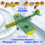 "Full Size Printed Plan VINTAGE 1970 Semi-Scale Stunt Controline ""ME 109"" simplest to build and fly of them all"