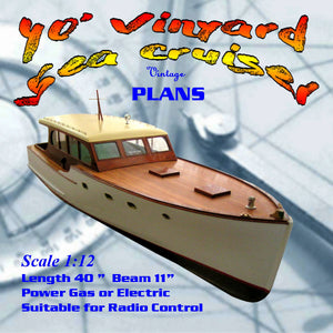 "Full Size Printed Plans Dumas 40' Vinyard Sea Cruiser 1:12 Scale 40""  for Radio Control"