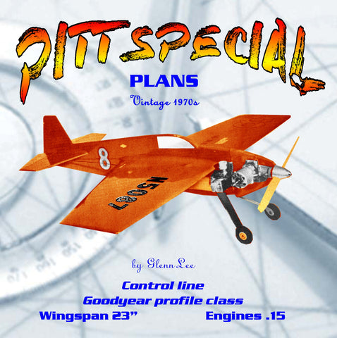 "Full Size Printed Plan Goodyear profile racer Scale 1:8 Control line ""PITT SPECIAL"""