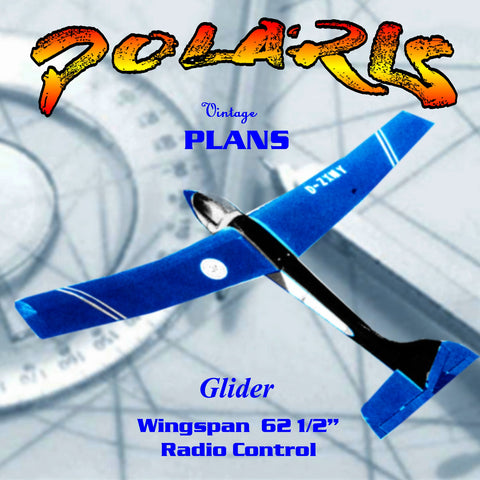 "Full Size Printed Plan Open or Slope Glider for radio control 62 1/2"" W/S"