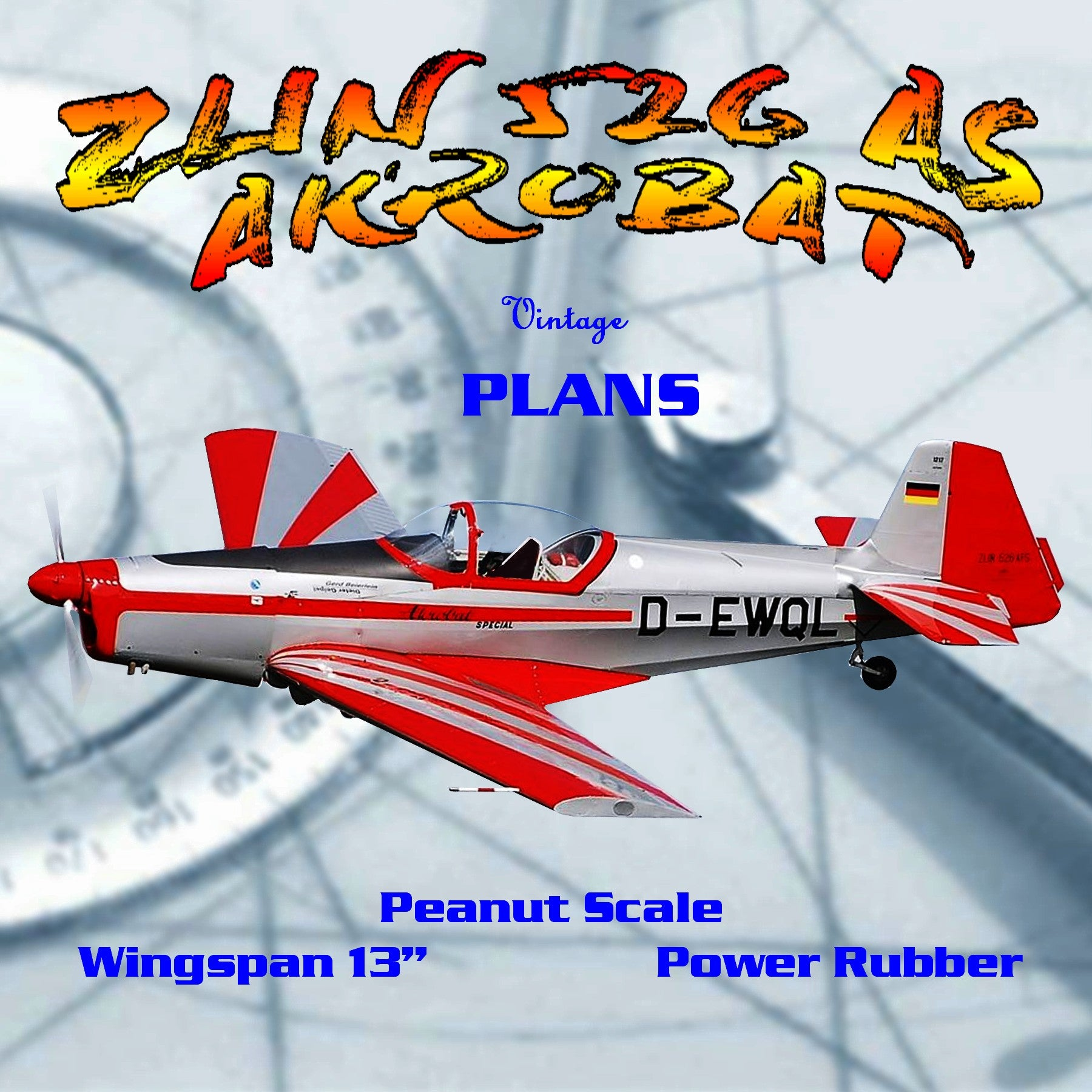 "Full size printed plans Peanut Scale ""ZLIN 526 AS AKROBAT"" Carefully select the wood to be used"