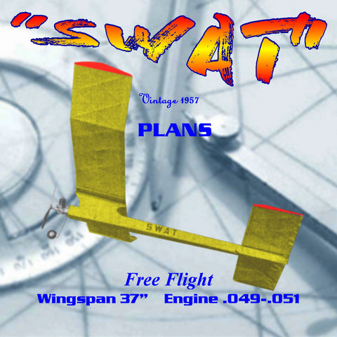 "Full Size Printed Plan 1957 Free flight  Wingspan 37"" 1/2A  ""SWAT"" no difficulties should arise in the construction."