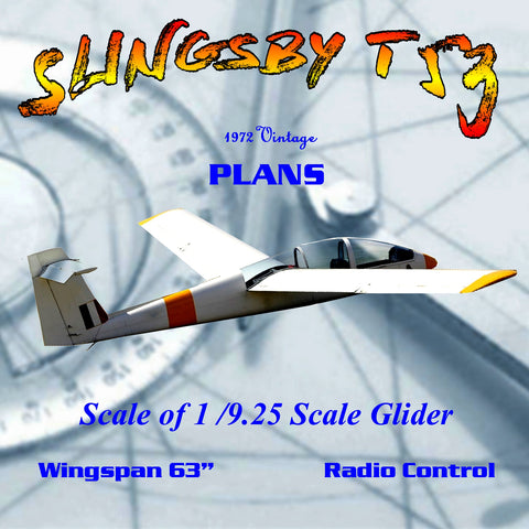 "Full Size Printed Plans 63 in. span scale glider for Radio control ""SLINGSBY T 53"""