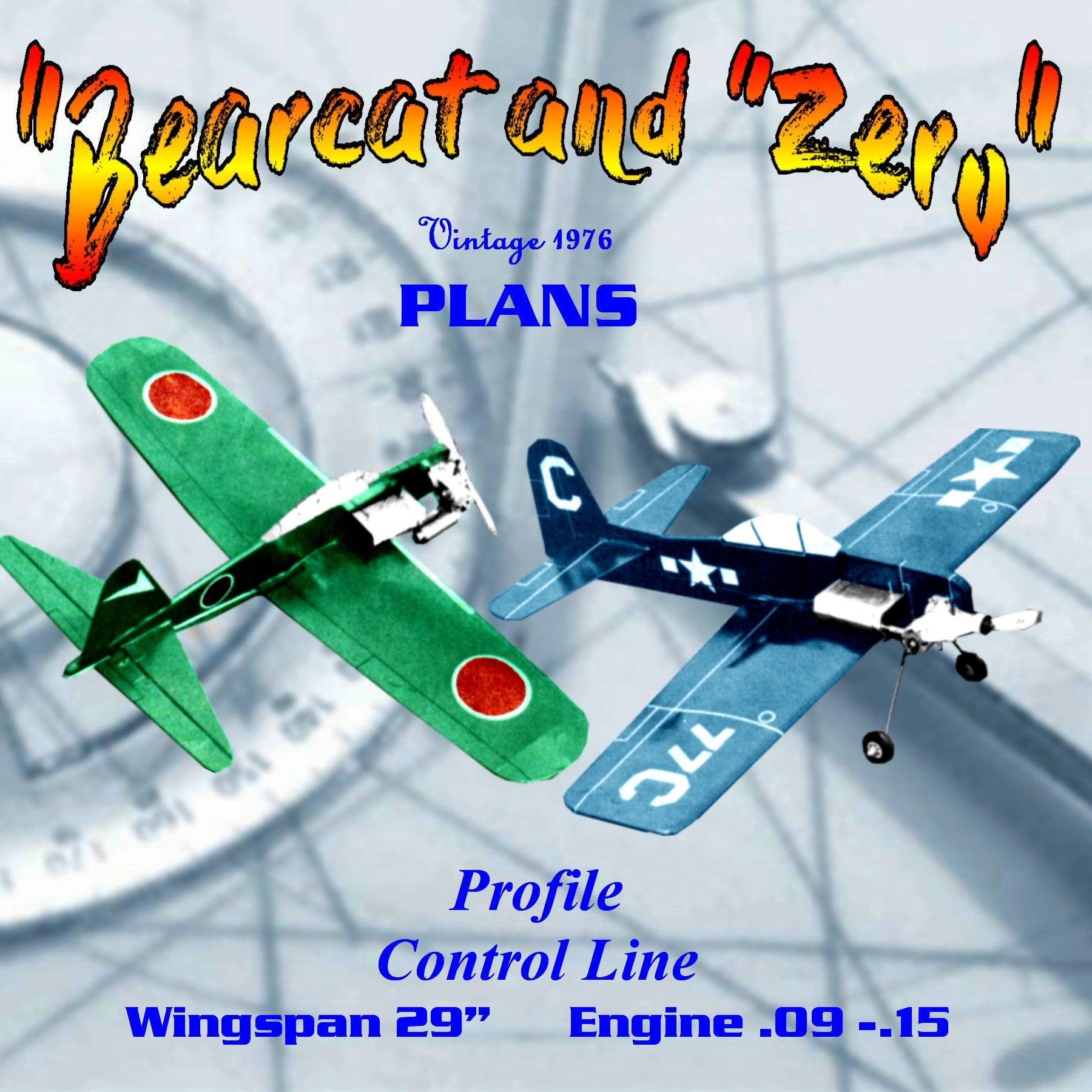 "Full Size Printed Plan Profile control line  ""Bearcat and a ""Zero"" They build fast"